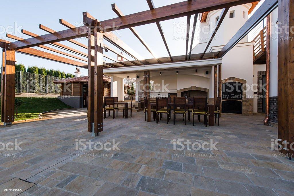 Beautiful terrace lounge stock photo