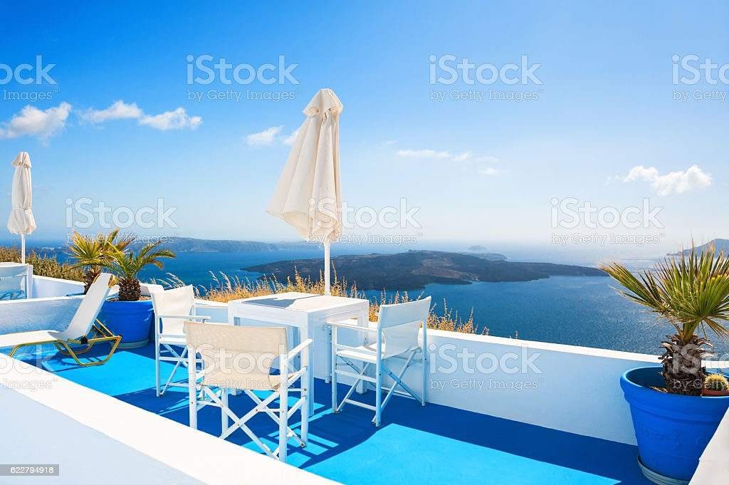 Beautiful terrace with sea view. stock photo