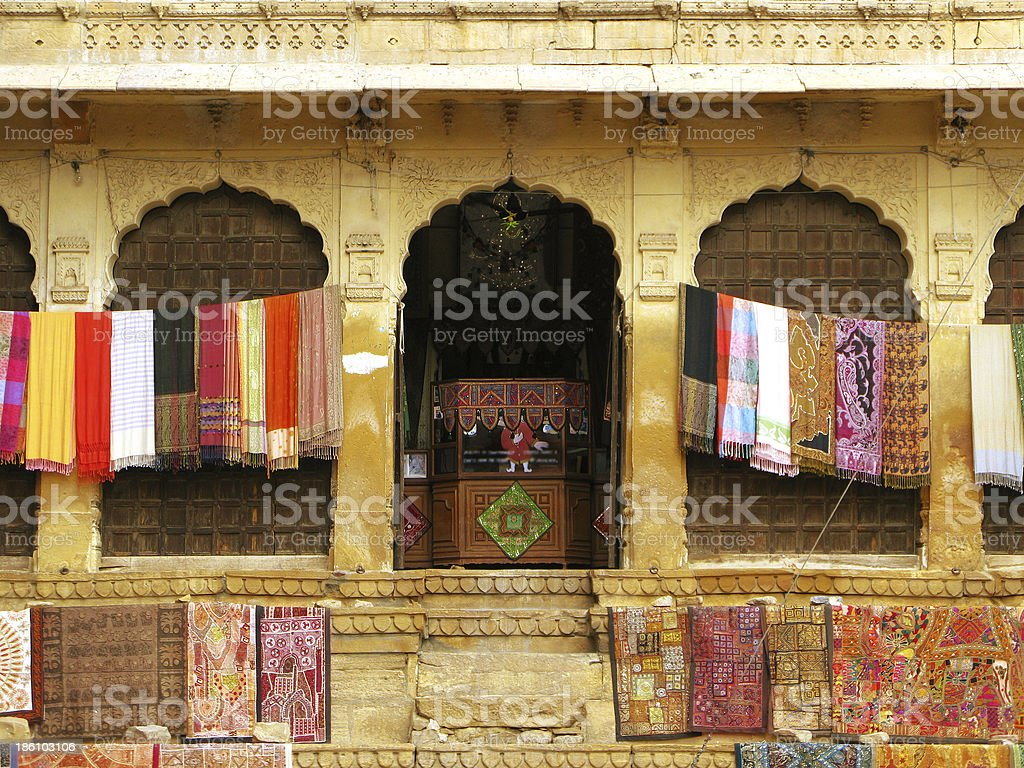 Beautiful textile handcrafts in Jaisalmer, the magnificent 'Golden City' royalty-free stock photo