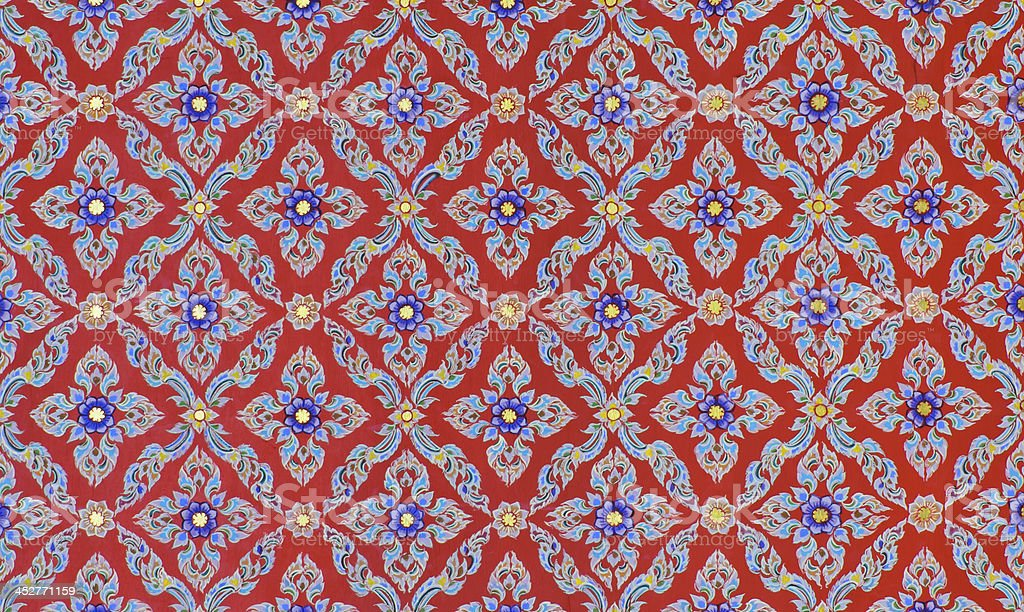 Beautiful Thai floral pattern painting stock photo