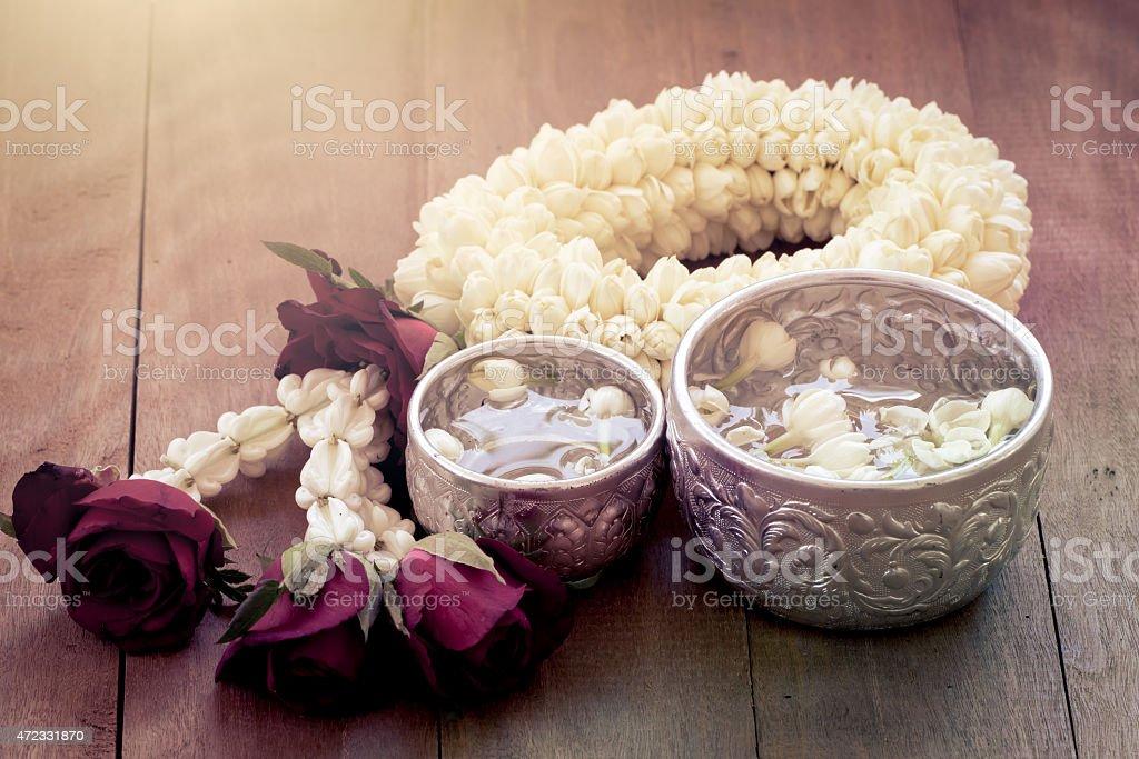 beautiful Thai garland flowers (jasmine and roses) stock photo