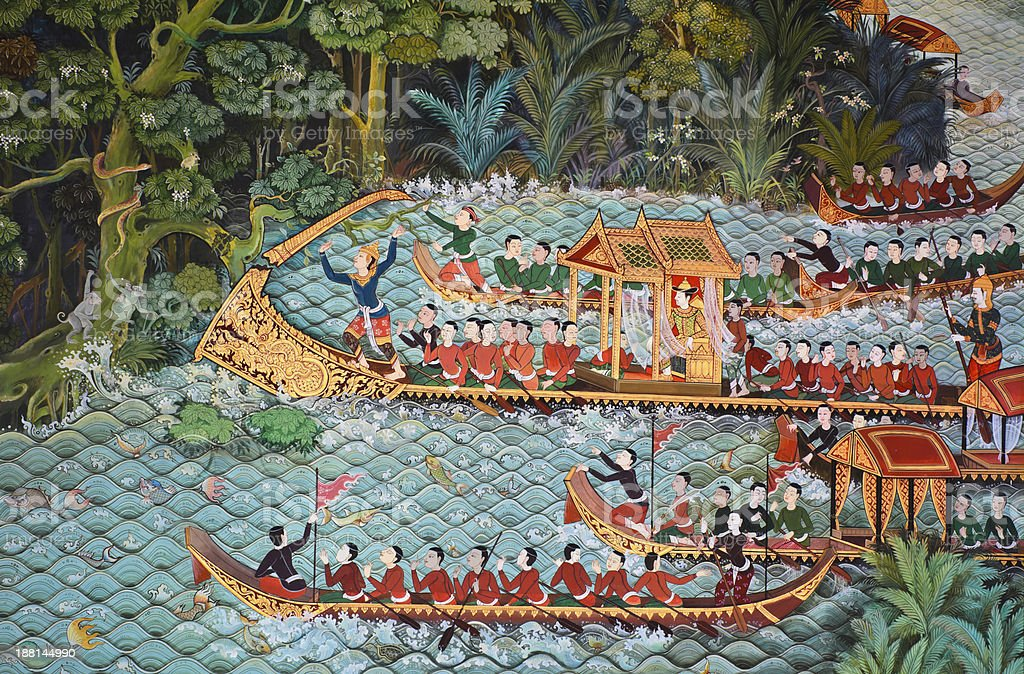 Beautiful Thai mural on temple wall royalty-free stock photo