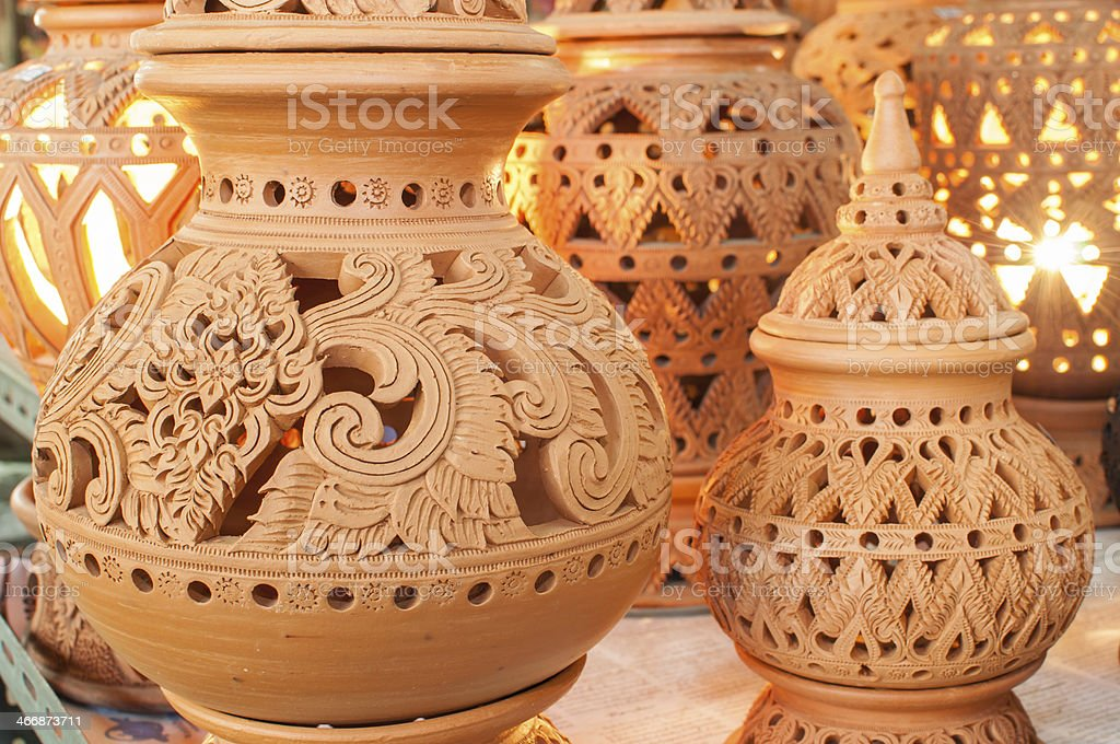 Beautiful Thai style designs on pottery royalty-free stock photo