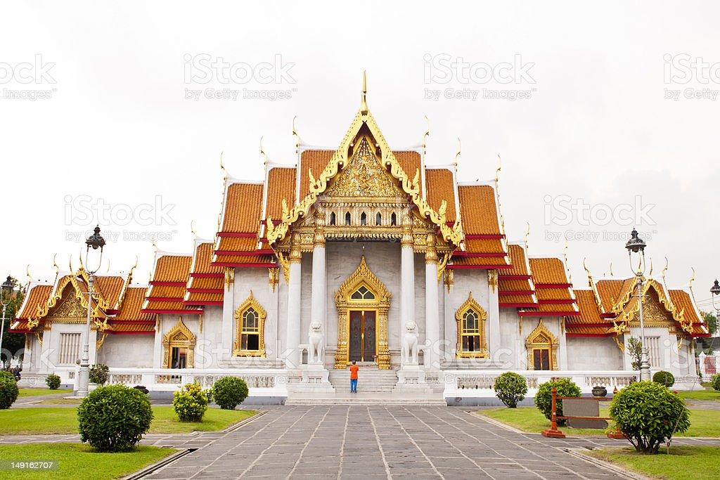 Piękne tajskiej świątyni (Wat Benchamabophit) w Bangkoku zbiór zdjęć royalty-free
