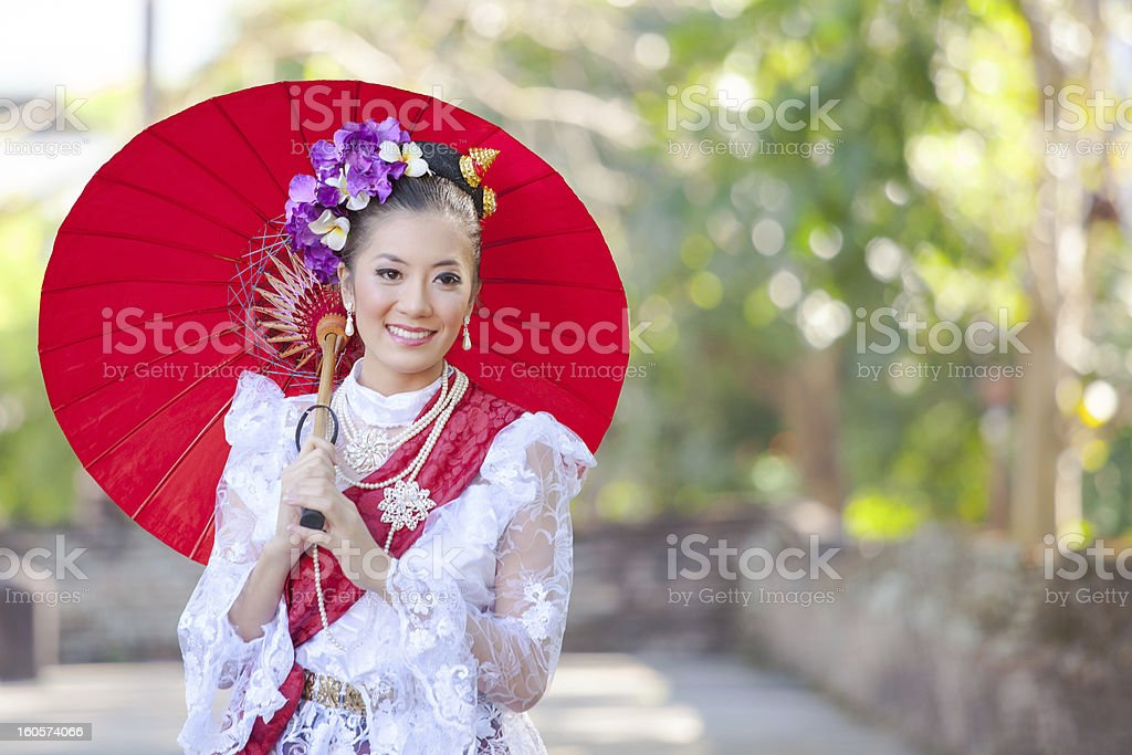 Beautiful thai women in traditional dress royalty-free stock photo