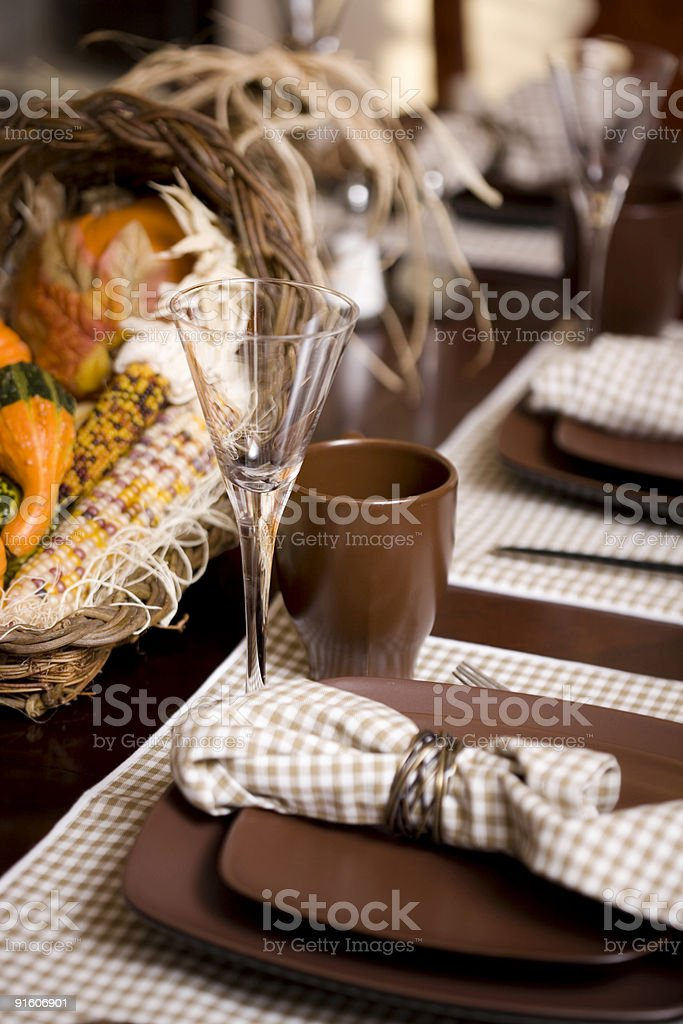 Beautiful Thanksgiving Dining Table Setting with Cornucopia royalty-free stock photo