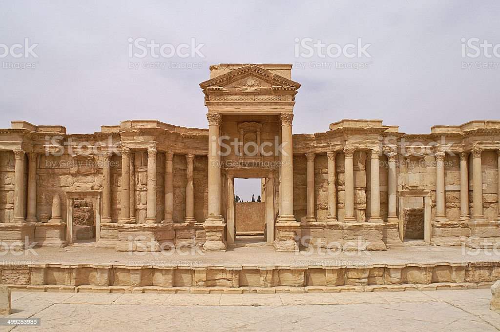 Beautiful theatre in Palmyra ancient city in Syria stock photo