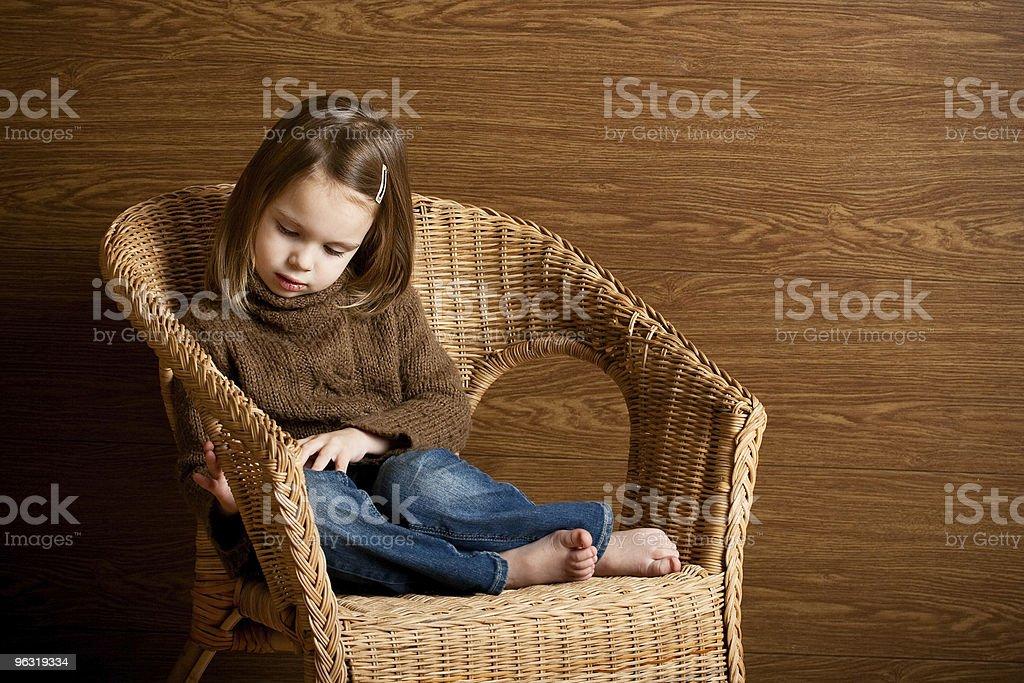 Beautiful thoughtful little girl. royalty-free stock photo