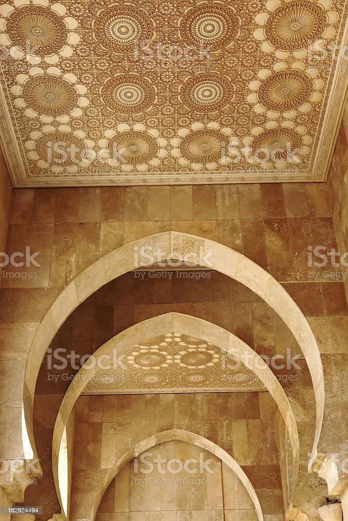 Beautiful tiles in arches  from Mosque Hassan ll, Casablanca, Morocco royalty-free stock photo