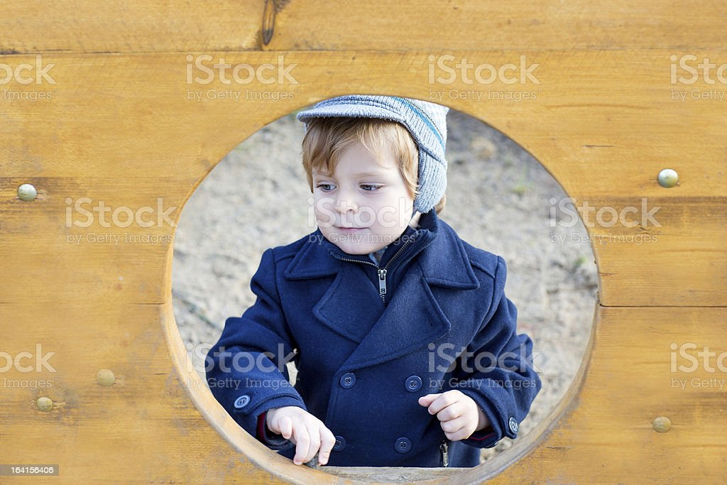 Beautiful toddler boy in blue coat on spring day royalty-free stock photo