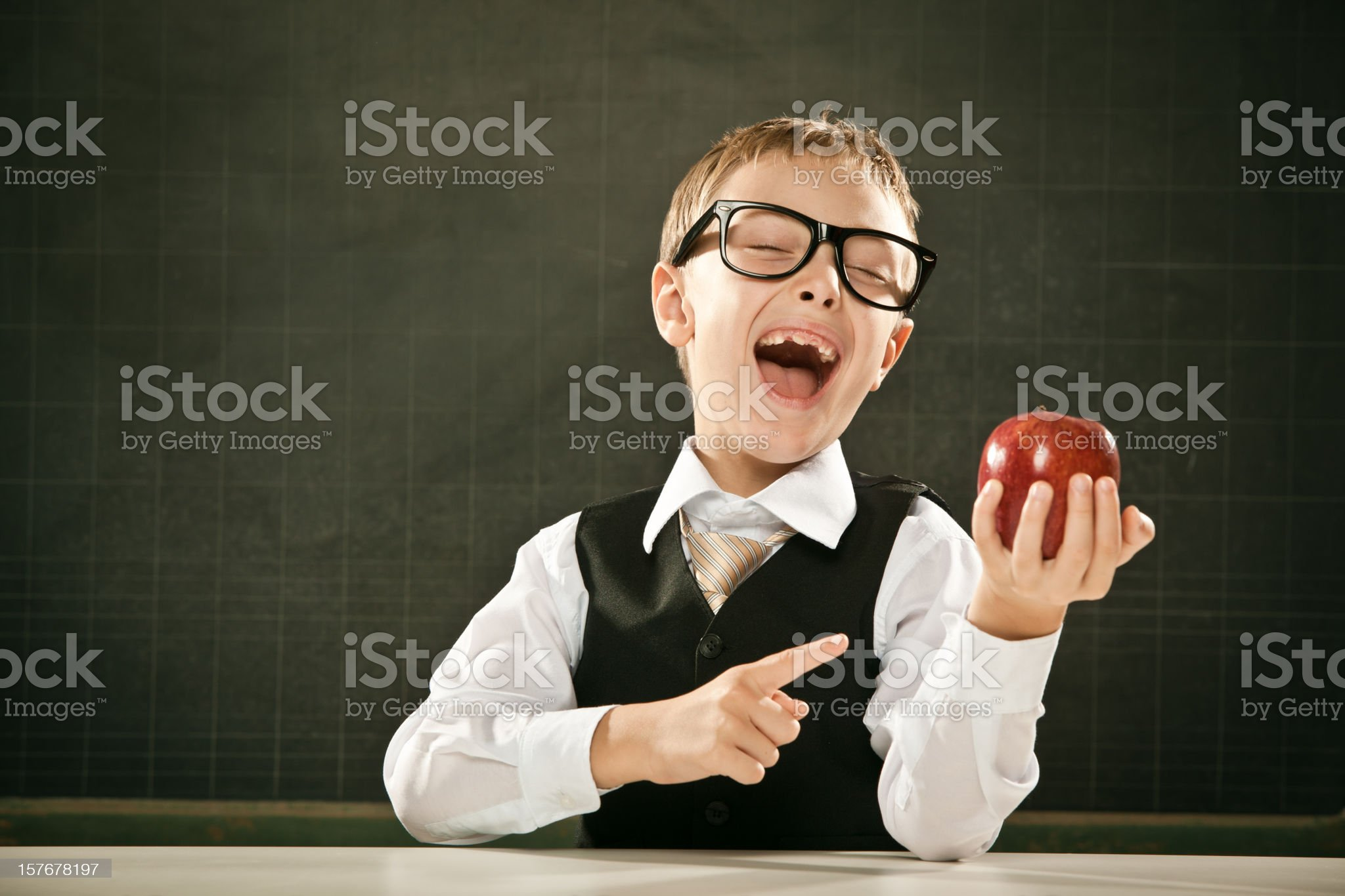 beautiful toothless school student kid with blackboard and apple royalty-free stock photo