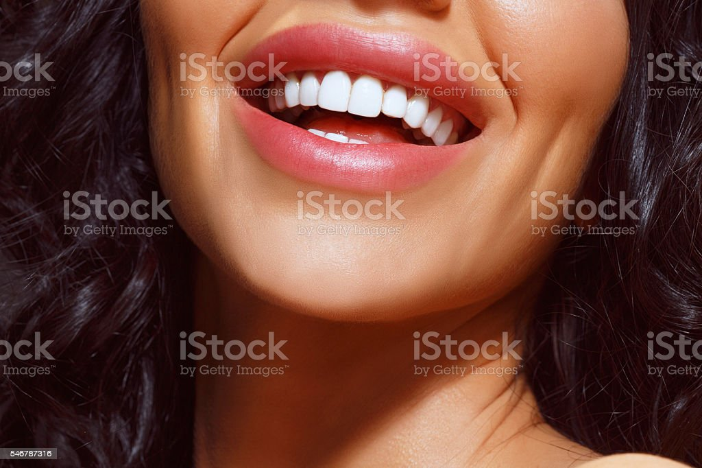 Beautiful Toothy Smile    Close-up Beauty Portrait     Happy smiling   Dynamic women stock photo