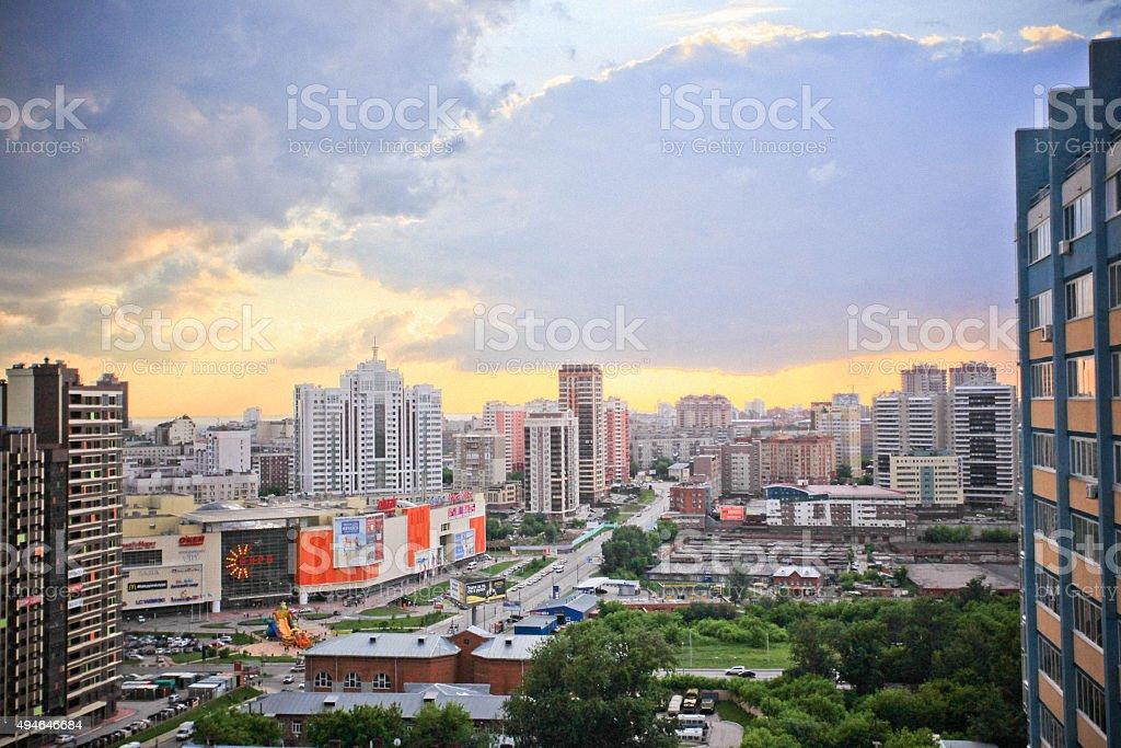 beautiful top view of Novosibirsk city stock photo