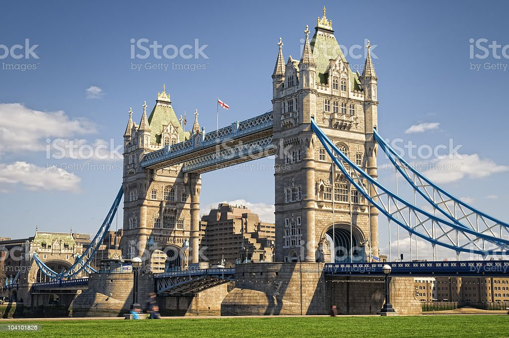 A beautiful Tower Bridge with amazing sky view background  stock photo