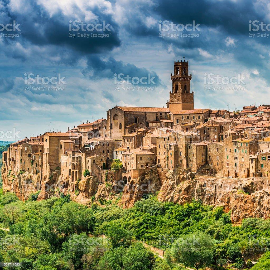Beautiful town in Tuscany, Pitigliano. Province of Grosseto. stock photo