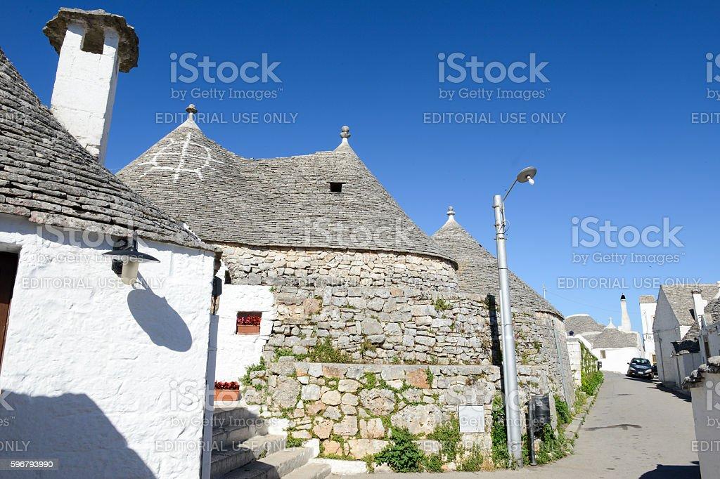 Beautiful town of Alberobello with trulli houses stock photo