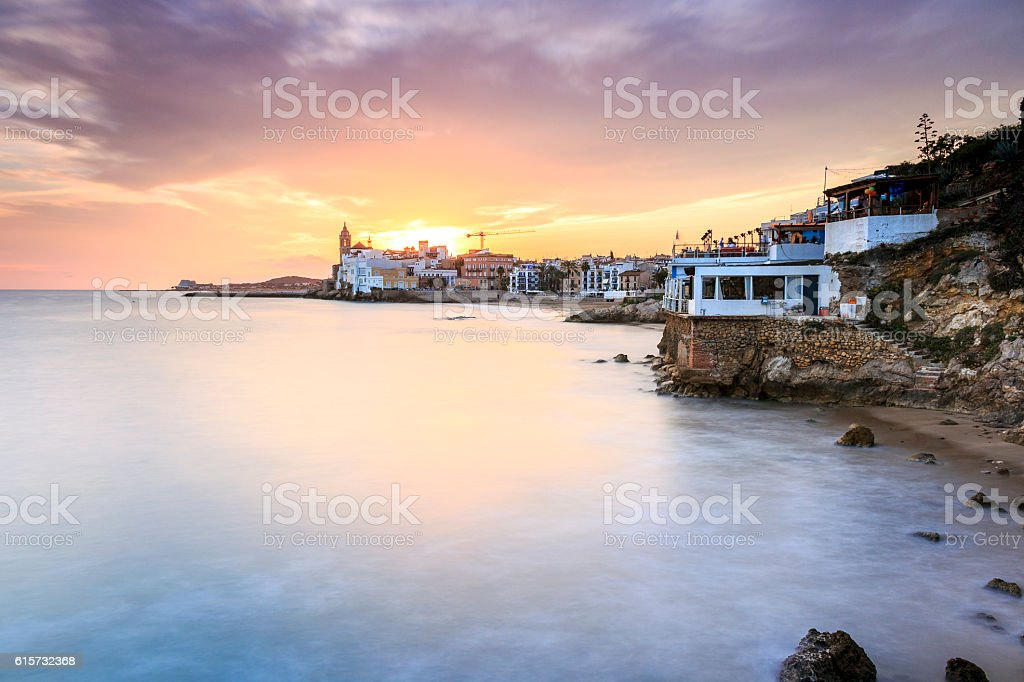 Beautiful town of Sitges at sunset, Spain stock photo