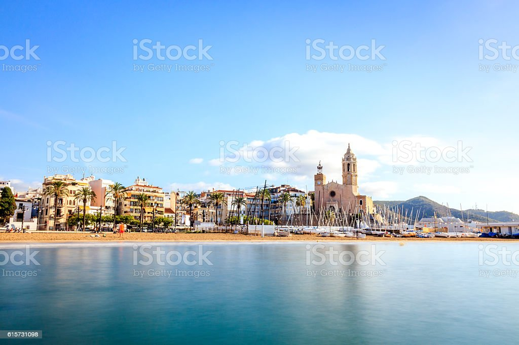 Beautiful town of Sitges, Catalonia, Spain stock photo
