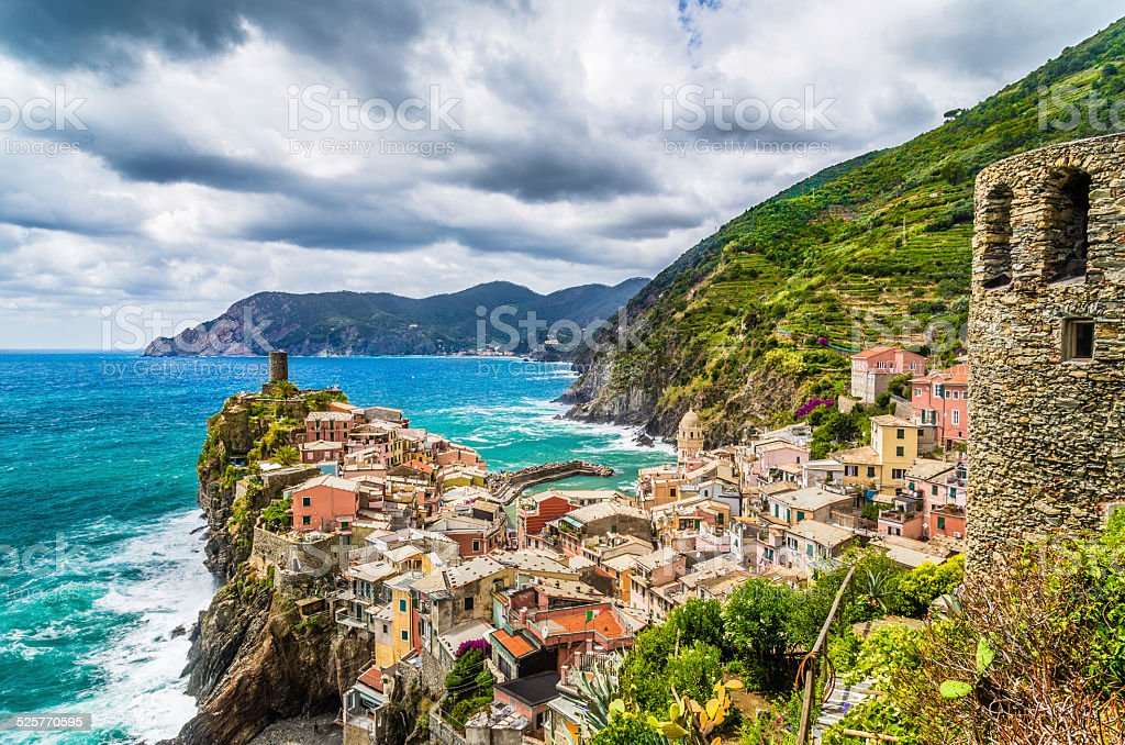 Beautiful town of Vernazza, Cinque Terre, Italy stock photo