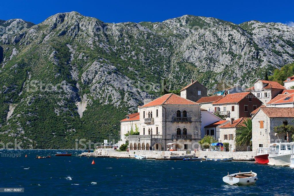 beautiful town Perast in the Bay of Kotor, Montenegro stock photo