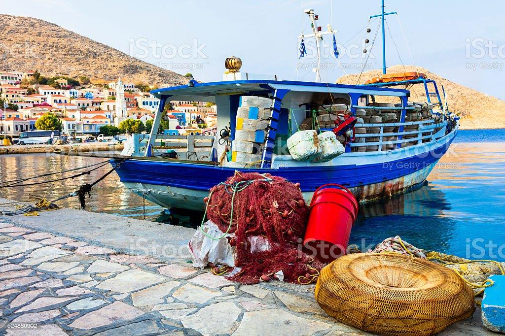 Beautiful Traditional Greek Island,Chalki,Dodecanese. stock photo