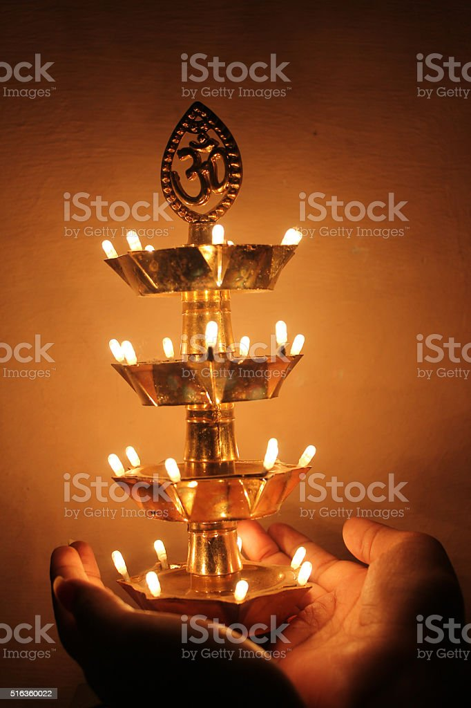 beautiful traditional indian lamp, festival concept stock photo