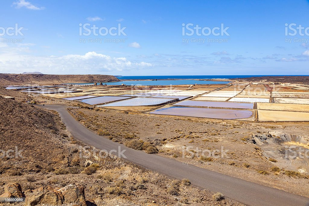 beautiful traditional Salinas de Janubio in Lanzarote, Canary Islands, Spain royalty-free stock photo