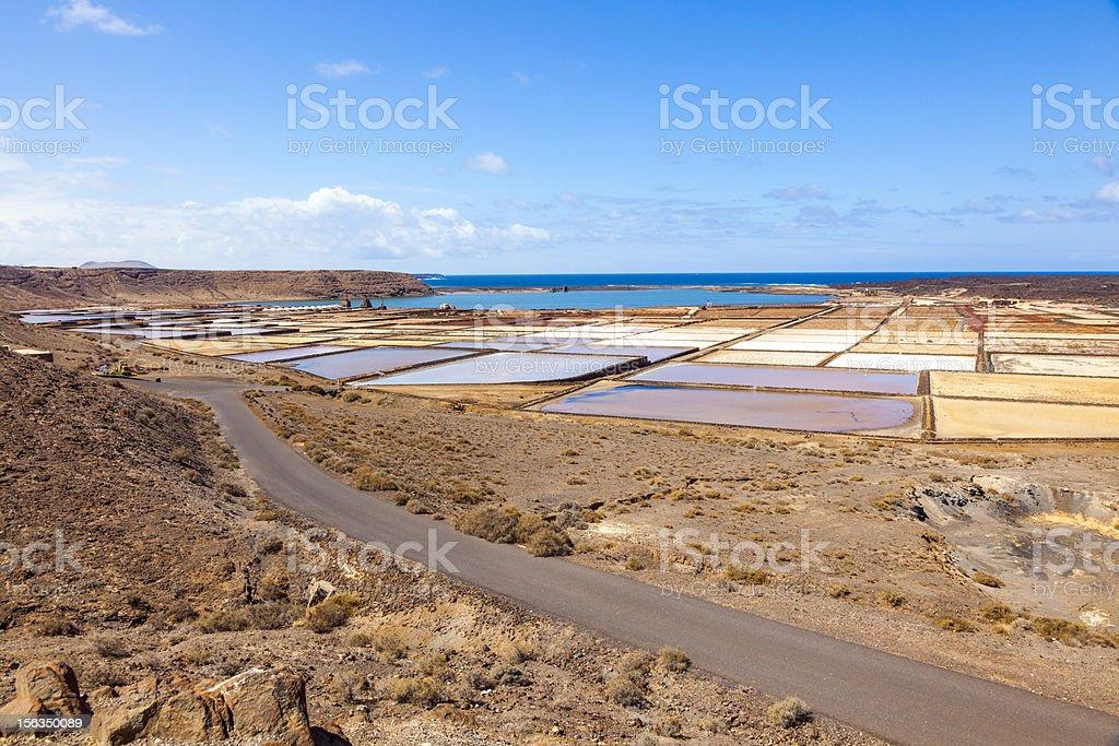 beautiful traditional Salinas de Janubio in Lanzarote, Canary Islands, Spain stock photo