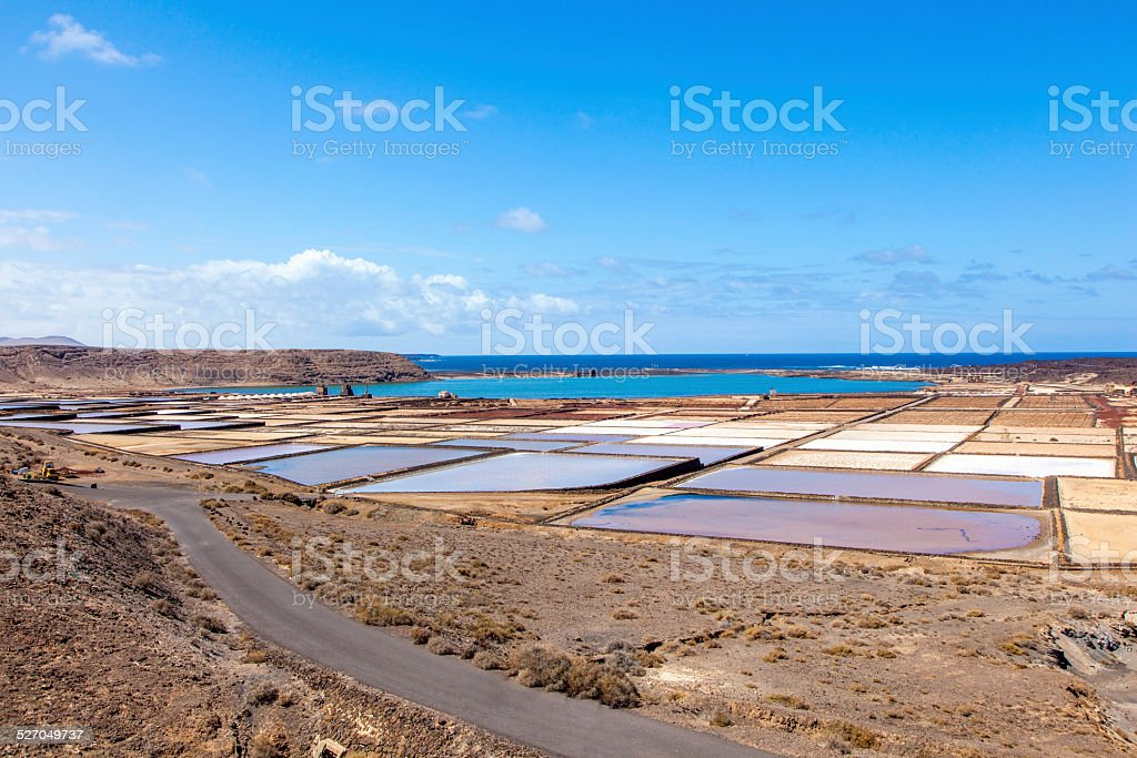 beautiful traditional saline in Janubio, Spain stock photo