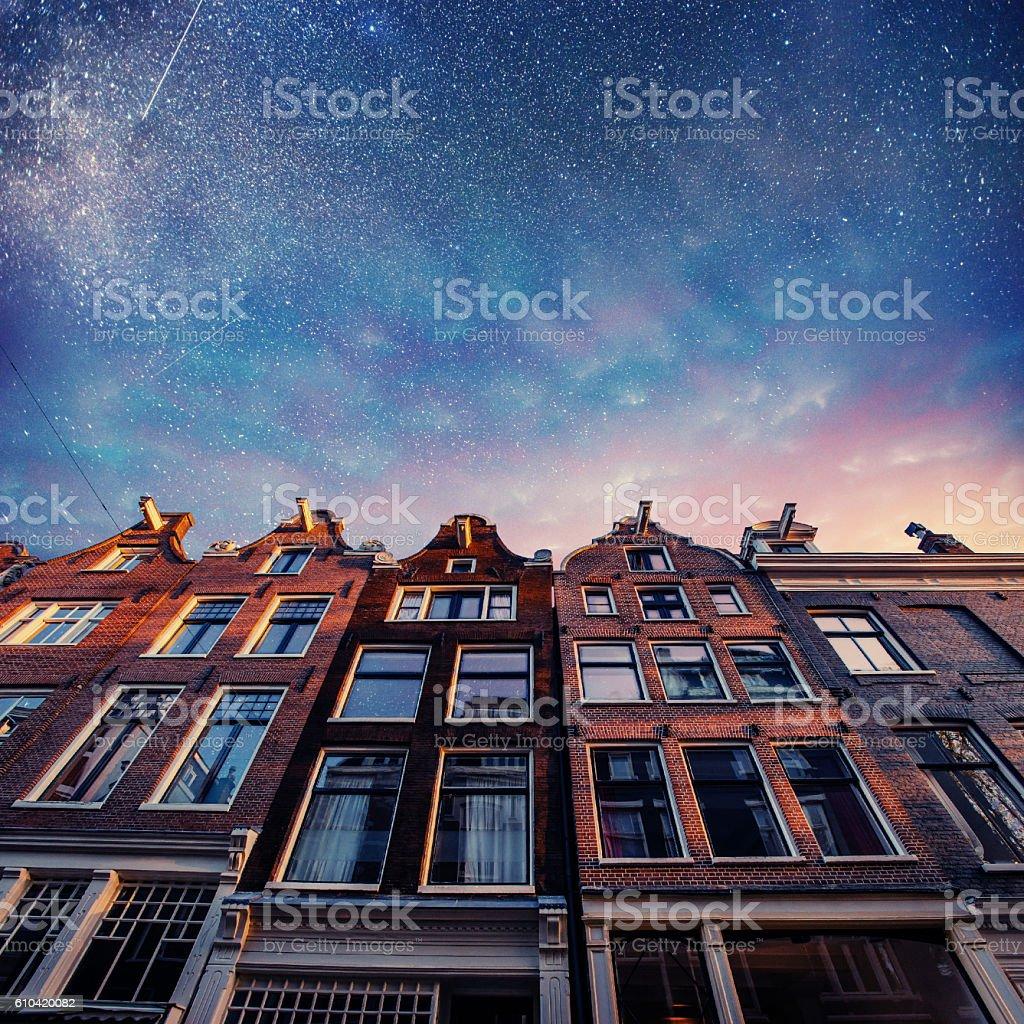 Beautiful tranquil scene of Amsterdam. stock photo
