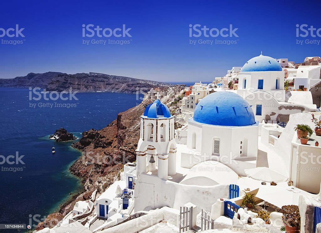 Beautiful travel destination Oia (Ia) village on Santorini island, Greece stock photo
