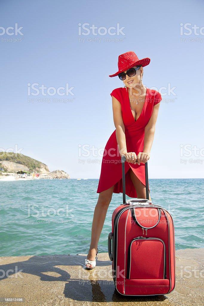 Beautiful traveler royalty-free stock photo