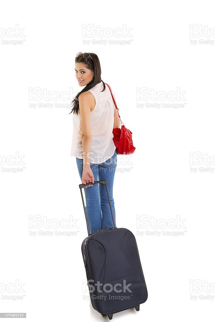 Beautiful traveling woman royalty-free stock photo