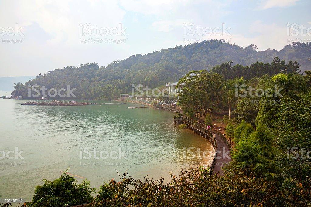 Beautiful trees and lake stock photo