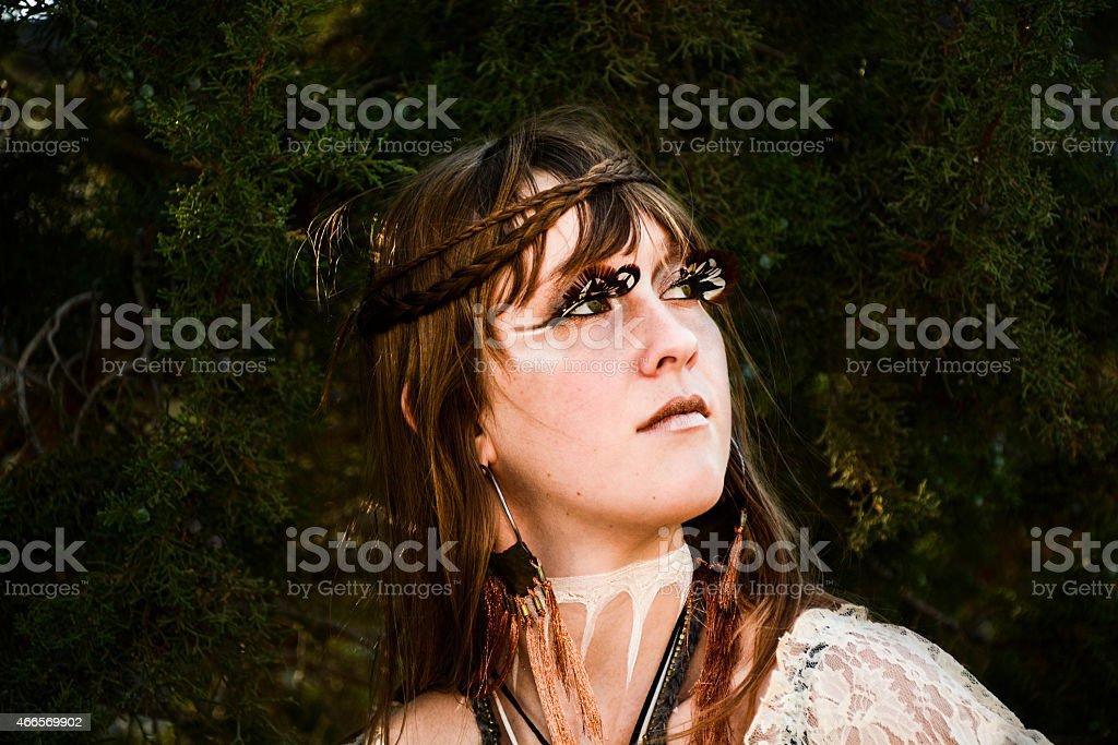 Beautiful Tribal Earth Woman Headshot stock photo