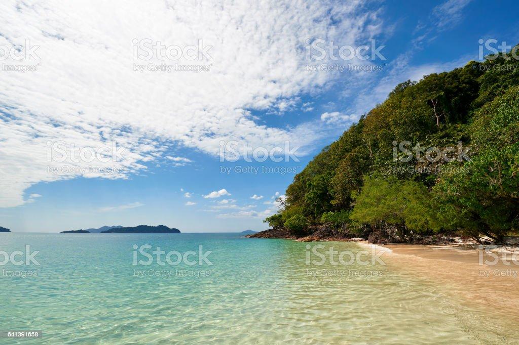 Beautiful tropical beach at island Koh Chang , Thailand. stock photo