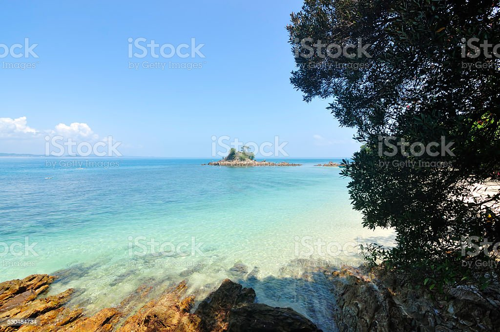 Beautiful Tropical Beach at Kapas Island, Malaysia stock photo