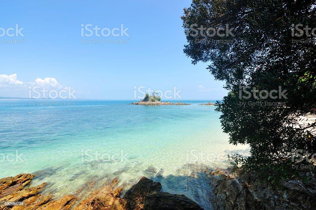 Beautiful Tropical Beach at Kapas Island, Malaysia stock photo