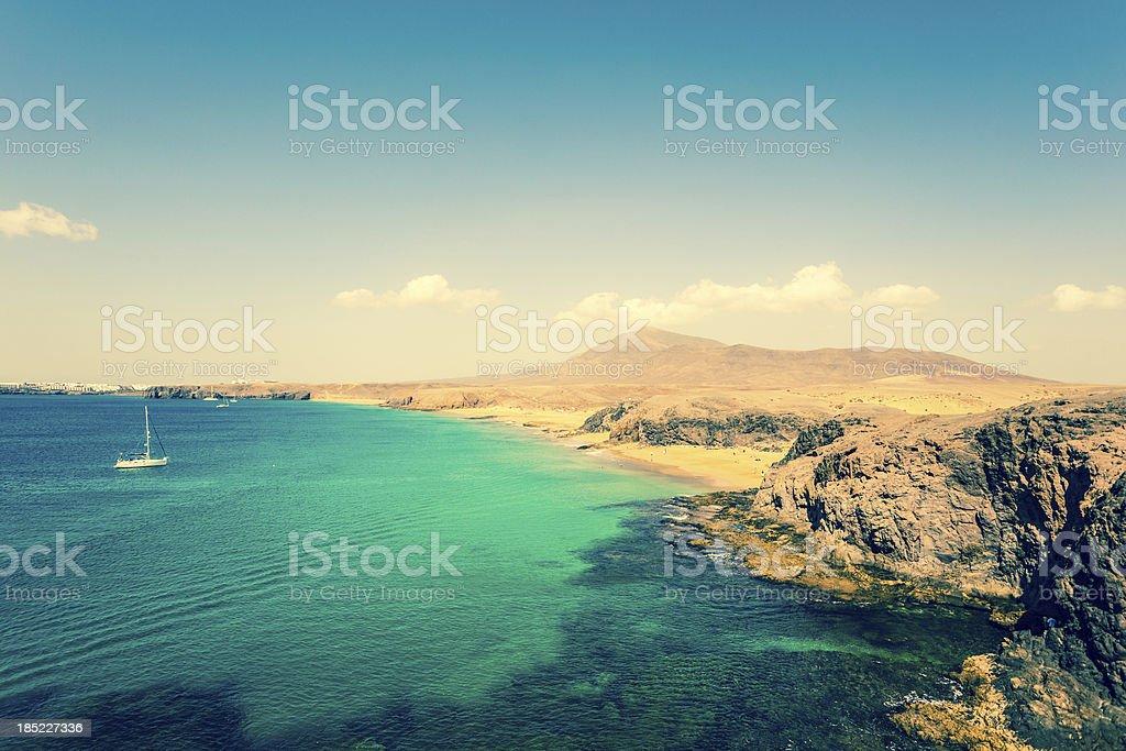 Beautiful Tropical Beach in Lanzarote, Canary Islands stock photo