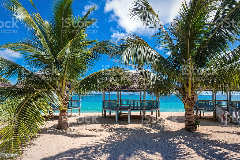 Beautiful tropical beach in Samoa stock photo