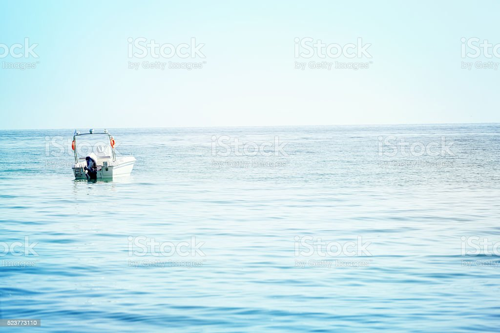 Beautiful Tropical Beach With Motor Boats stock photo