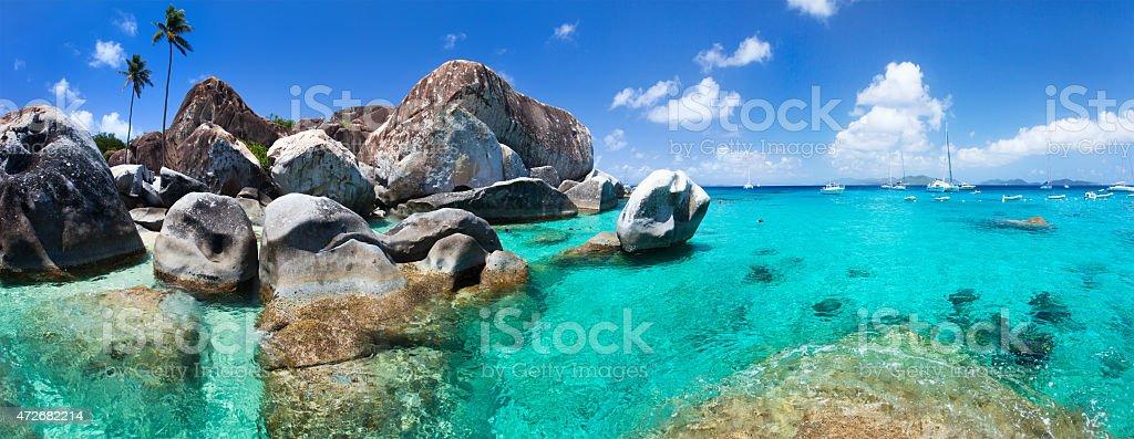 Beautiful tropical coast at Caribbean stock photo