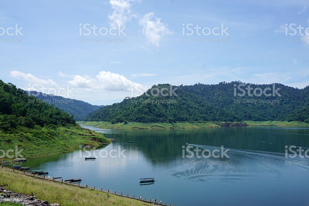 Beautiful tropical forest from the dam stock photo