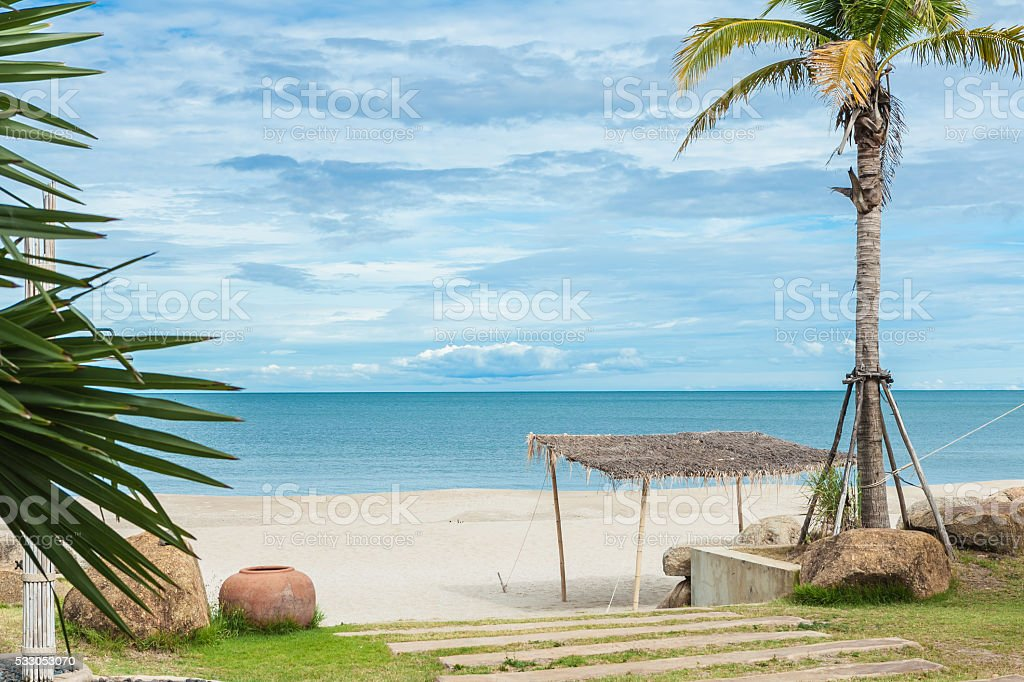 Beautiful tropical gold sand beach in Thailand stock photo