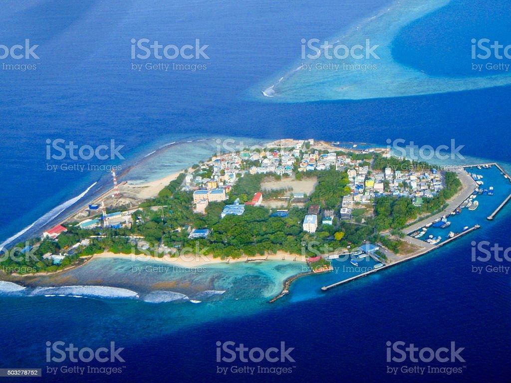 Beautiful Tropical island at Maldives - aerial view stock photo