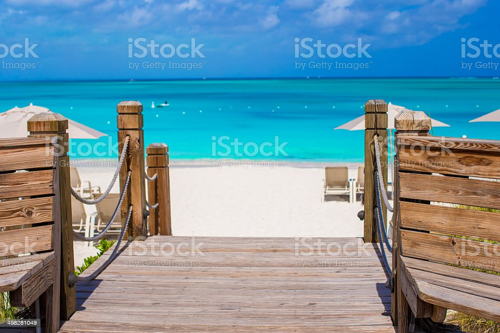 Beautiful tropical landscape on Providenciales Island stock photo