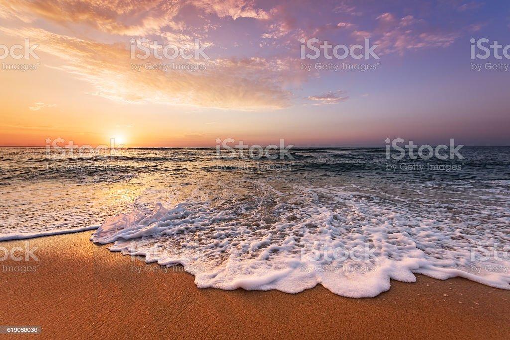 Beautiful tropical sunrise on the beach. stock photo