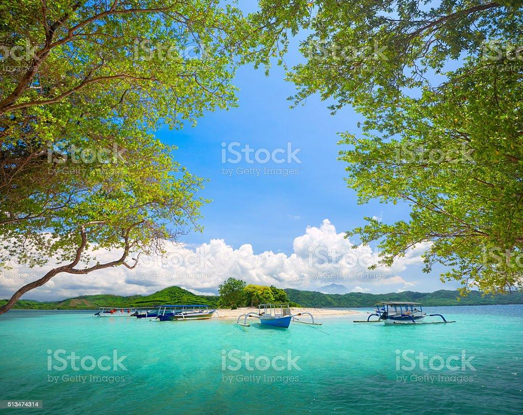 Beautiful tropical uninhabited island on background of mountains. stock photo