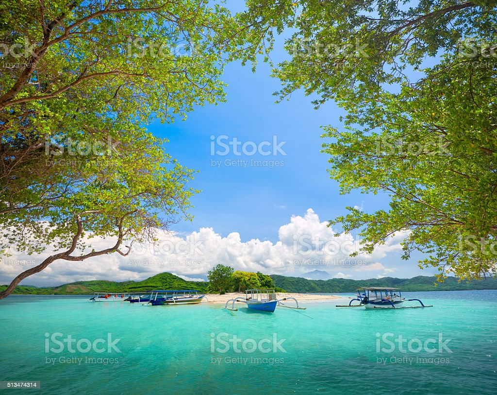 Beautiful tropical uninhabited island on background of mountains. stock photo