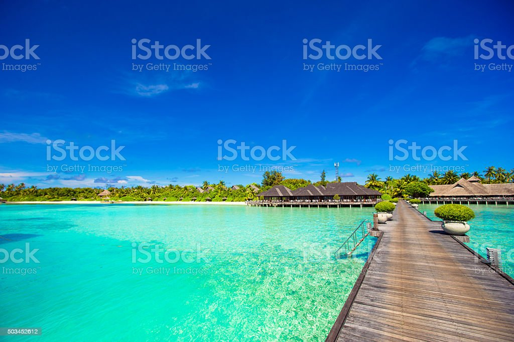 Beautiful tropical view of perfect ideal island in Indian Ocean stock photo